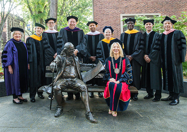 Honorary Degree Recipients with Amy Gutmann at Penn Commencement 2019