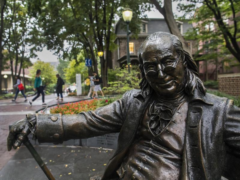 Ben Franklin on bench